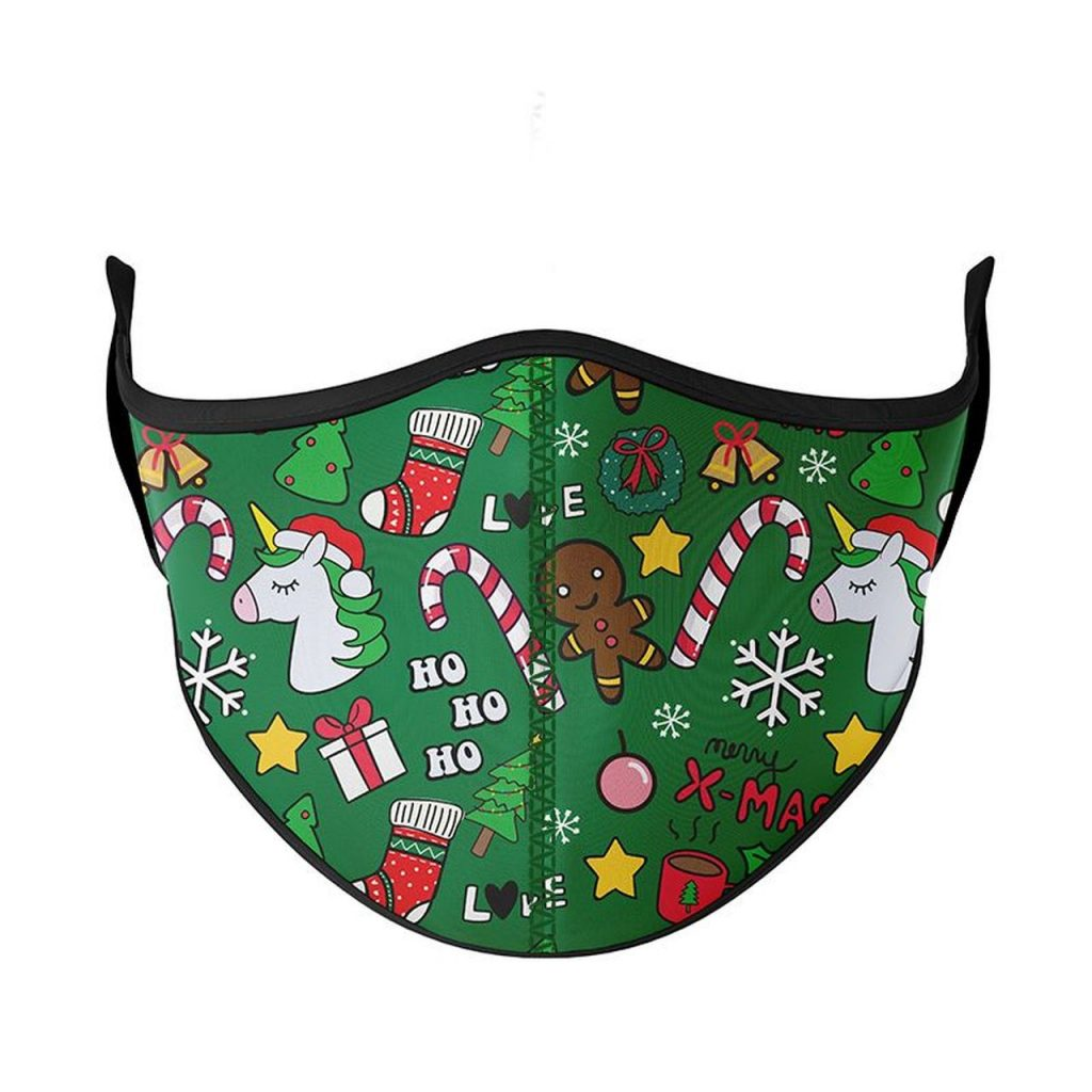 A green holiday mask with HO Ho HO and Xmas written on it with gingerbread men, candy canes, and unicorns wearing Santa hats.
